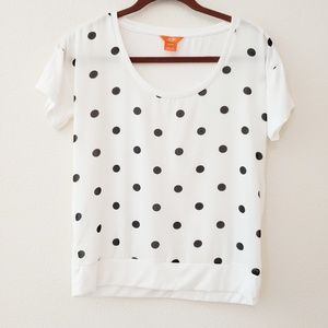 Joe Fresh white & black polka dot sheer top. XS